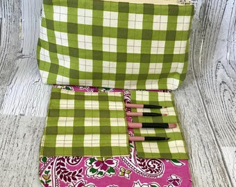 Makeup Bag with Attached Brushroll *READY TO SHIP*