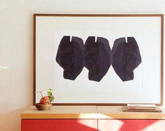 Minimalist Contemporary Wall Art, Large Art Print, Three Black Heads, Modern Giclee Print, Art Poster Painting