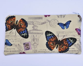 Butterfly Pencil Case, Butterflies Zippered Pouch, Wallets and Purses