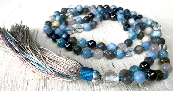 108 Aquamarine Mala Beads, Healing Jewelry, Hematite, Crystal Quartz, Rose Quartz, Labradorite, Knotted Prayer Beads, Japa Mala For Healing