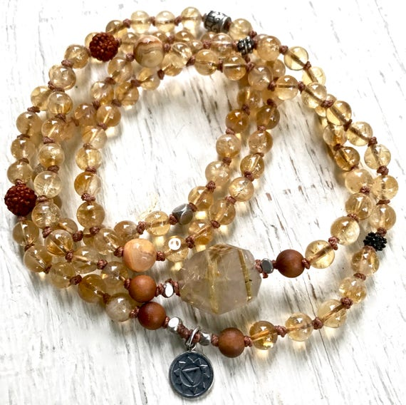 Solar Plexus Mala Beads, Citrine, Gold Rutilated Quartz, Sandalwood, Manipura Chakra Bracelet, Self Confidence, Personal Power, Yoga Jewelry