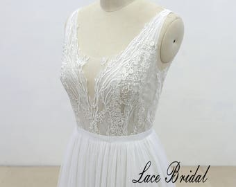 Soft tulle a line wedding dress, Ivory lace wedding dress with sexy v-cut neckline