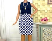 On Hold for LG- Curvy Barbie Doll Skirt Outfit - Navy Blue and White Skirt, Top, Earrings, Necklace, and Shoes for Curvy Barbie Doll