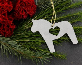 Love Swedish Horse Dala Horse Christmas Ornament  Rustic Metal Holiday Gift for Her Fall Decor Wedding Favor Scandinavian Gift Swedish Home