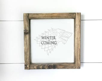 Winter is coming - direwolf wood sign