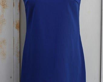 Vintage Blue Shift Dress - Sleeveless Dress - 60s Dress - Mod Dress - Twiggy Dress - Scooter Dress - Sheath Dress - 1960s Dress - Midi Dress