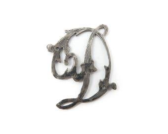 Vintage Cursive D Charm, Component, Jewelry Making, Silver Tone