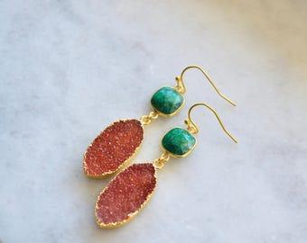 Druzy earrings, druzy dangles, emerald earrings, emerald dangles, druzy orange earrings, druzy studs