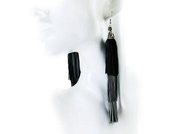 Tassel Earrings, Ombre layered Boho Hippie Bohemian Earrings, Casual Chic Dangle Drop Earrings, Jewelry, Black Gray, Christmas Gift for her