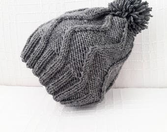 Men's gray beanie - Men's knit beanie Men's knit hat Men's beanie Gray beanie Mens gift Men's winter hat Hand knit beanie men Gift for him