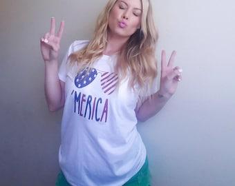 Merica 4th of July graphic t-shirt funny ladies girls women tee tumblr instagram gift girls