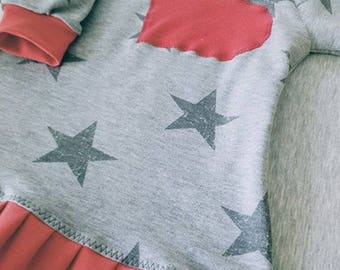 Dress for little girl with stars and heart size up to 12 months