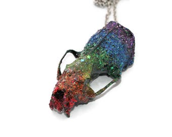 Real Skull Necklace Rainbow Glitter Galaxy Mink Skull Pendant Bone Jewelry Oddities and Curiosities Strange Things