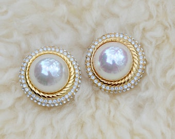VTG Christian Dior Pearl Pave Crystal Clip Earrings, Gorgeous!