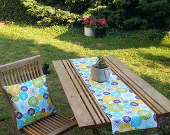 Green Blue Yellow GEOMETRIC Table Runner, Premium Cotton table runner, Water Resistant Stain Resistant Runner, Table Cloth,