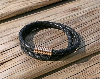 Black braided leather cuff bracelet, magnetic clasp. Unisex, mens, chunky cuff.