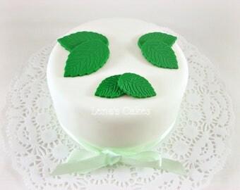 100 Leaves Fondant Cake Cupcake Toppers, Sugar Rose Leaves Toppers, Green Edible Leaf, Spring Wedding Cake Decor, Rose Leaf Fondant