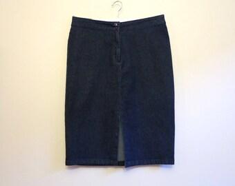 Navy Blue Skirt High Waisted Jean Skirt Denim Skirt Denim Pencil Skirt Large Size Stretchy Jeans Skirt