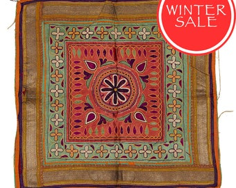 WINTER SALE - Vintage Textile - Vintage Chakla with Flower design on Coral Silk.