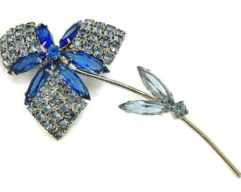 Vintage Blue Rhinestone Flower Brooch Big Dazzling Articulated Petals