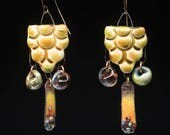Piney Flower, rustic yellow woodland style mixed dangles with artisan beads and torched enamel