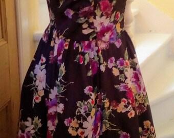 Vintage 50s Brown Satin Floral Dress UK 10