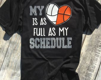 Full Heart, Full Schedule, My Heart is as Full as my Schedule, Sports Mom Shirt