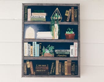 """Book Lovers Navy Blue Abode •Hand-painted Acrylic and Gold Paint on a 11""""x14"""" Stretched Canvas"""
