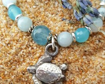 Aquamarine Angelite Ocean Jasper Healing Gemstone Necklace Blue Swarovski Crystal Protection Anxiety Stress Birthday Gift Sea Turtle Rescue
