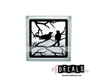 Birds on Branches - Animal and Pet Vinyl Lettering for Glass Blocks - Wildlife Craft Decals