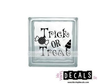 Trick OR Treat - Halloween Vinyl Lettering for Glass Blocks - Craft Decals