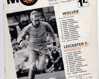 Vintage Football (soccer) Programme - Wolverhampton Wanderers v Leicester City, 1968/69 season