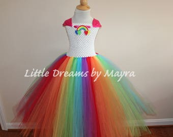 Rainbow tutu outfit, Rainbow birthday party tutu dress, Princess Rainbow costume size nb to 14years