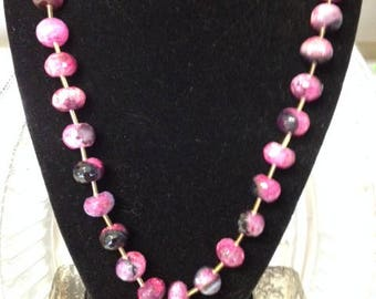 Pink Raspberry Banded Onyx Necklace