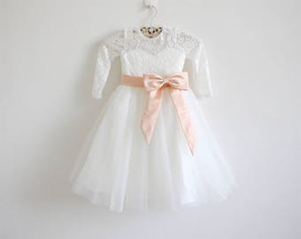 Light Ivory Flower Girl Dress Long Sleeve Lace Tulle Flower Girl Dress With Peach Sash/Bows