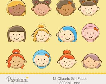 12 Girls Face Clipart - Afro Girl - Hijab Girl - Blonde Girl - Asian Girl - Red Hair Girl - Curly Girl