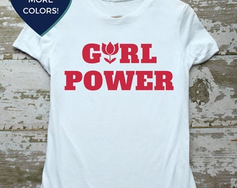 "Girt Power Shirt: Feminist T Shirt with Red Flower Detail by Fourth Wave Feminist Apparel. Let's reclaim the phrase ""Like a girl!"""