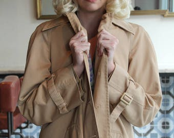 Cropped Vintage Trench Coat with Removable Zipper Lining