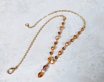 Amber Crystal Necklace on a Dainty Gold Link Chain, Amber Beaded Chain Necklace, Citrine, 14KT Gold Filled, Wedding Jewelry, Crystal Drop