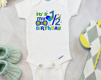 Half Birthday Onesies® Brand Bodysuit, Half Birthday Shirt, Birthday Outfit, Baby Boy Girl, Cute Baby Clothes, It's My 1/2 Birthday