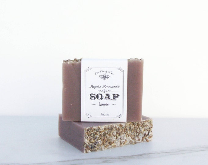 Lavender Handmade Soap Bar 4oz / organic cocoa butter to soften skin / handcrafted organic artisanal soap