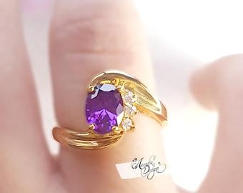 Amethyst Gemstone Quartz Golden Ring. February Birthstone Purple Stone Jewelry Art Deco Starry Moon Night Purple Gem Ring | Bridesmaid Gift