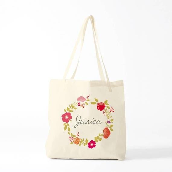 Canvas bag, custom gift, Jessica Wreath, boho bag, custom bag, your name, bachelorette gift.