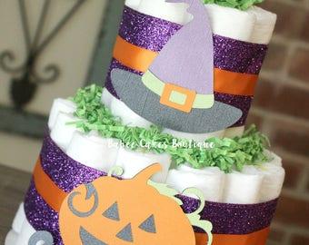2 tier halloween diaper cake halloween baby shower gender neutral october baby shower