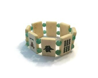 Vintage Mah Jongg Tile Bracelet, Green and White Lucite Stretch Bracelet, Costume Jewelry