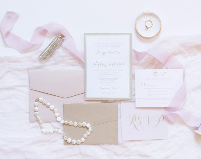 5x7 Pink Blush and Champagne Gold Modern Wedding Invitation Suite with & RSVP — Different Colors Available!