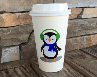 Disposable Hot Drink Cups with Lids; Disposable Coffee and Hot Cocoa Cups; Penguin party supplies