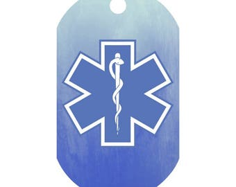 Custom Medical Alert Necklace in Blue Watercolor | Medic Tag | Medical Alert ID | Medical Alert Jewelry | Front and Back Included