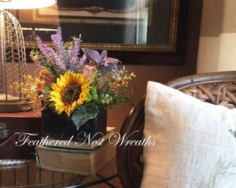 Small Floral Arrangement, Small Table Arrangement, Small Flower Arrangement, Farmhouse Decor, Sunflower Arrangement, Table Decor
