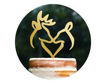 Rustic Buck and Doe Heart Wedding Cake Topper, Romantic Deer Cake Wedding Cake Topper, Hunter Theme Wedding Cake Topper Antler Topper (T254)